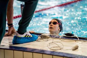 Dobronyi Dorina a fizikai számokban megérezte a kihagyást, de már a medencében is egyre jobb időeredményeket ér el Fotó: Buza Virág/MÖSZ