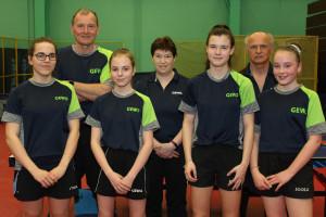 Három edző (balról: Dohoczki Tamás, Oláh Zsuzsa és Fülöp István), illetve a lányok edzés után még a jelenlegi Statisztika színeiben Fotó: Bodrogi Tamás