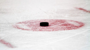 Hockey Puck on Face-off Dot
