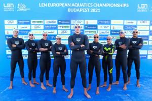 A nyílt vízi Eb-n szereplő magyar csapat Forrás: MÚSZ