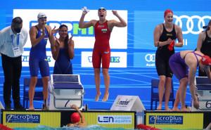 Veres Laura (pirosban) a budapesti felnőtt Eb után a tokiói olimpián is úszhat a 4x200 m-es gyorsváltóban Forrás: MÚSZ