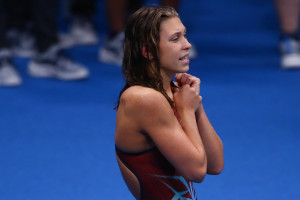 Veres Laura kiválóan helytállt a 4x200-as gyorsváltóban az olimpián Fotó: Derencsényi István/MÚSZ