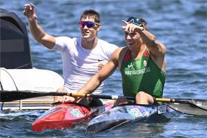 Kopasz Bálint és az utánpótláskorú Varga Ádám (balról) révén kettős magyar siker K1 ezer méteren Fotó: Kovács Tamás / MTI