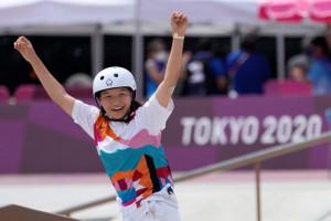 A japán gördeszkás, Nisija Momidzsi (13 évesen és 330 naposan) minden idők második legfiatalabb női olimpiai bajnoka lett Fotó:MTI/AP/Ben Curtis