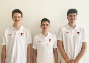 Balról: Hajdu Péter, Pafféri Péter és Vámos Ádám Forrás: Budapesti Honvéd Kosárlabda Akadémia