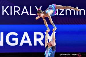 A fináléban a hetedik helyen végzett a Nyári Zsolt, Király Jázmin vegyespáros Pesaróban, az akrobatikus tornászok korosztályos Európa-bajnokságán Forrás: EG FB