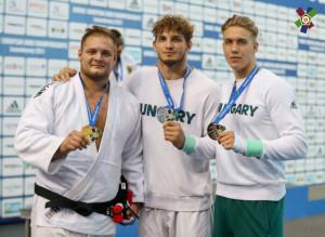 A három magyar érmes fiú: Sipőcz Richárd (balról), Vég Zsombor és Sáfrány Péter Forrás: EJU