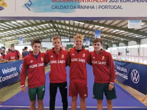 Négyből három magyar az U19-es fiúk döntőjében (balról: Gulyás. Tárkányi, Csák, Gáll) Forrás: MÖSZ