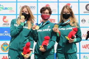 Az aranyérmes légpuskás lányok. Balról: Horváth Lea, Dénes Eszter, Mészáros Eszter FORRÁS: ISSF